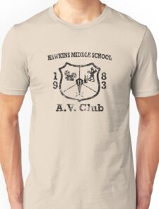Hawkins Middle School AV Club - Black Weathered Unisex T-Shirt