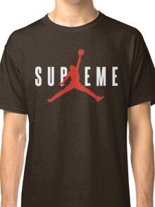 Supreme x Jordan Collab White Text fotr Black Clothing Classic T-Shirt