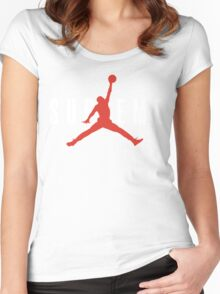 Supreme x Jordan Collab White Text fotr Black Clothing Women's Fitted Scoop T-Shirt