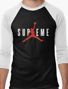 Supreme x Jordan Collab White Text fotr Black Clothing Men's Baseball ¾ T-Shirt