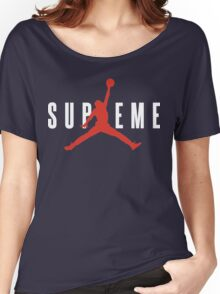 Supreme x Jordan Collab White Text fotr Black Clothing Women's Relaxed Fit T-Shirt