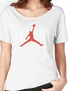 Supreme x Jordan Collab White Text fotr Black Clothing Women's Relaxed Fit T-Shirt