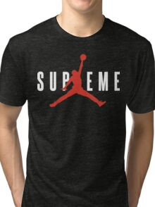 Supreme x Jordan Collab White Text fotr Black Clothing Tri-blend T-Shirt