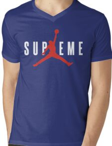Supreme x Jordan Collab White Text fotr Black Clothing Mens V-Neck T-Shirt