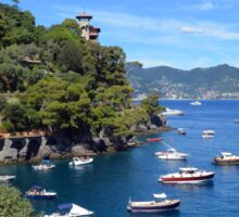 6 August 2016. Photography of the beautiful Portofino fishing village in Italy. View on small bay and colorful houses at town of Portofino in Liguria, Italy. Sticker