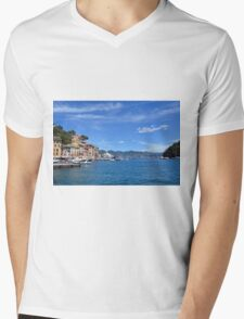 6 August 2016. Photography of the beautiful Portofino fishing village in Italy. View on small bay and colorful houses at town of Portofino in Liguria, Italy. Mens V-Neck T-Shirt