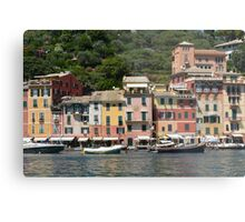 6 August 2016. Photography of the beautiful Portofino fishing village in Italy. View on small bay and colorful houses at town of Portofino in Liguria, Italy. Metal Print