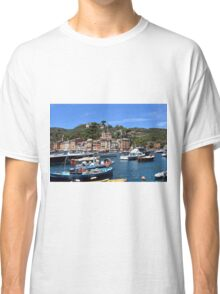 6 August 2016. Photography of the beautiful Portofino fishing village in Italy. View on small bay and colorful houses at town of Portofino in Liguria, Italy. Classic T-Shirt