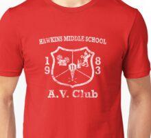 Hawkins Middle School AV Club - White Weathered Unisex T-Shirt