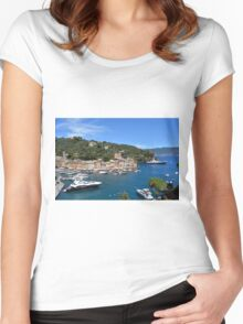6 August 2016. Photography of the beautiful Portofino fishing village in Italy. View on small bay and colorful houses at town of Portofino in Liguria, Italy. Women's Fitted Scoop T-Shirt
