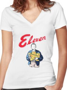 Eleven's Waffles Women's Fitted V-Neck T-Shirt