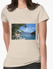 6 August 2016. Photography of the beautiful Portofino fishing village in Italy. View on small bay and colorful houses at town of Portofino in Liguria, Italy. Womens Fitted T-Shirt