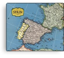 1939 Spain map - wedding gift - birthday gift for her Canvas Print