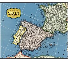 1939 Spain map - wedding gift - birthday gift for her Photographic Print