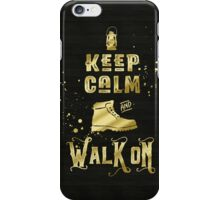 Keep Calm and Walk On Gold Hiking Boot Typography iPhone Case/Skin