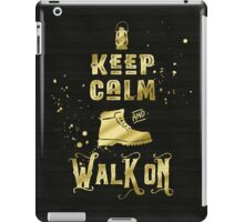 Keep Calm and Walk On Gold Hiking Boot Typography iPad Case/Skin