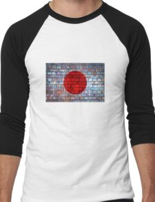 Japan vintage flag on a brick wall Men's Baseball ¾ T-Shirt