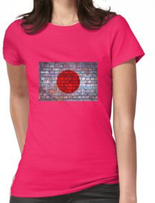 Japan vintage flag on a brick wall Womens Fitted T-Shirt