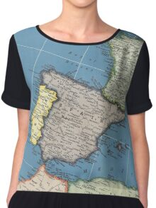 1939 Spain map - wedding gift - birthday gift for her Chiffon Top