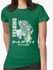 yoshino cutie in white text Womens Fitted T-Shirt