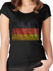 German flag painted on old brick wall Women's Fitted Scoop T-Shirt