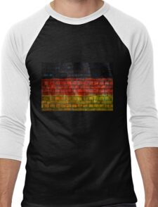 German flag painted on old brick wall Men's Baseball ¾ T-Shirt
