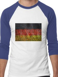 German flag painted on old brick wall Men's Baseball ¾ T-Shirt