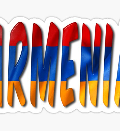 Armenia Word With Flag Texture Sticker