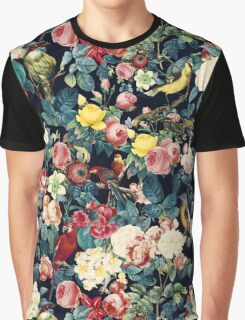 Floral and Birds Pattern Graphic T-Shirt
