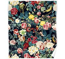 Floral and Birds Pattern Poster