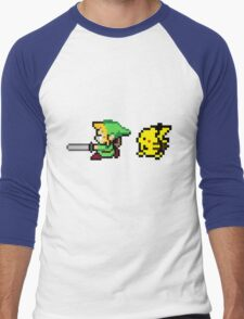 Link and Pikachu Men's Baseball ¾ T-Shirt