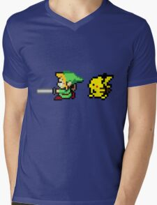 Link and Pikachu Mens V-Neck T-Shirt