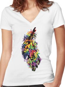 Colorful feather Women's Fitted V-Neck T-Shirt