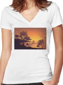 Tropical Island at Sunset 4 Women's Fitted V-Neck T-Shirt