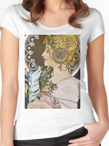 Alphonse Mucha - La Plumethe Pen Women's Fitted Scoop T-Shirt