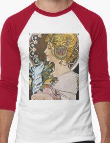 Alphonse Mucha - La Plumethe Pen Men's Baseball ¾ T-Shirt