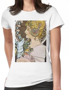 Alphonse Mucha - La Plumethe Pen Womens Fitted T-Shirt