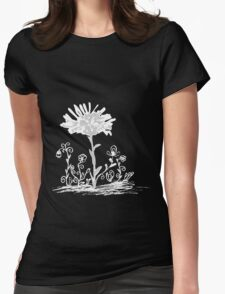 Invert sketch flowers Womens Fitted T-Shirt