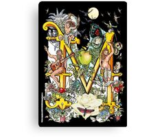 """The Illustrated Alphabet Capital  M  """"Getting personal"""" from THE ILLUSTRATED MAN Canvas Print"""