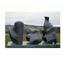 Henry Moore's Three Piece Reclining Figure No 1 at Yorkshire Sculpture Park Art Print