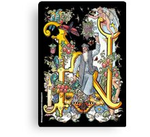"""The Illustrated Alphabet Capital  N  """"Getting personal"""" from THE ILLUSTRATED MAN Canvas Print"""