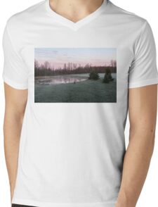 Frosty Morning - Quiet Pinks and Greens at the Pond Mens V-Neck T-Shirt