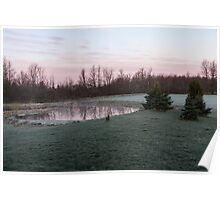 Frosty Morning - Quiet Pinks and Greens at the Pond Poster