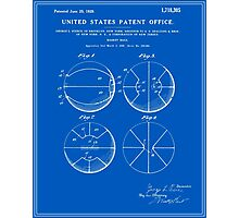 Basketball Patent - Blueprint Photographic Print