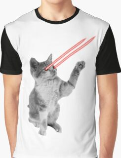Retro Laser Eyes Space Cat  Graphic T-Shirt