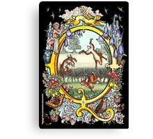 """The Illustrated Alphabet Capital  Q  """"Getting personal"""" from THE ILLUSTRATED MAN Canvas Print"""
