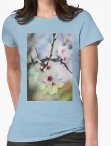 Almond tree flowers in watercolor Womens Fitted T-Shirt