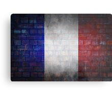 France flag painted on old brick wall texture background Metal Print