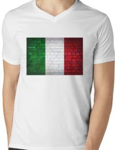 Italy flag painted on old brick wall texture background Mens V-Neck T-Shirt