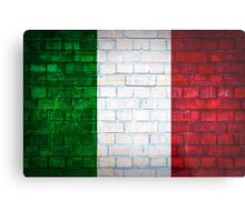 Italy flag painted on old brick wall texture background Metal Print